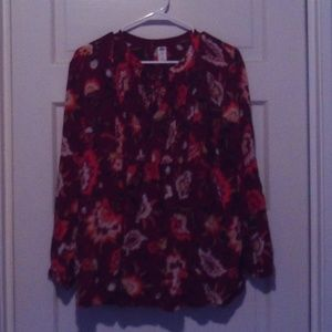 Old Navy Floral Print Maternity Long Sleeve Shirt